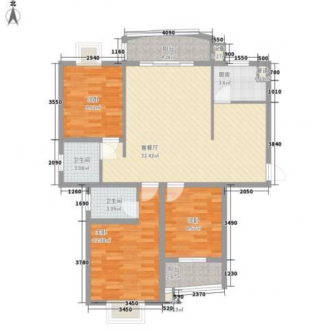天赐良园3室1厅2卫1厨116.00㎡户型图