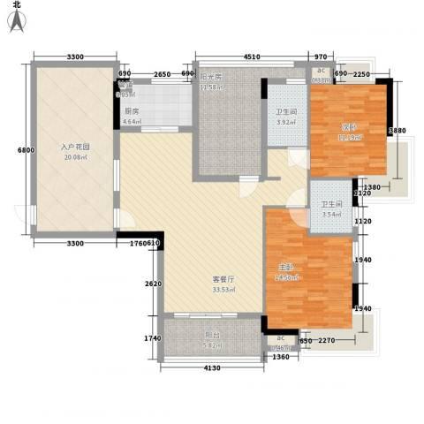广电江湾新城2室1厅2卫1厨124.00㎡户型图
