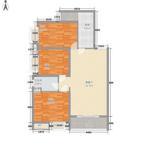 宫园壹号3室1厅1卫1厨125.00㎡户型图