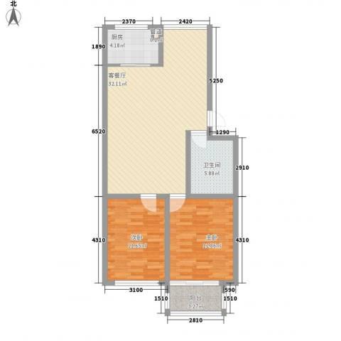 和谐家园2室1厅1卫1厨100.00㎡户型图