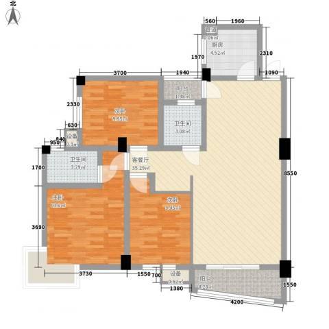 天赐良园3室1厅2卫1厨125.00㎡户型图