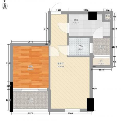 广电江湾新城1室1厅1卫1厨50.00㎡户型图