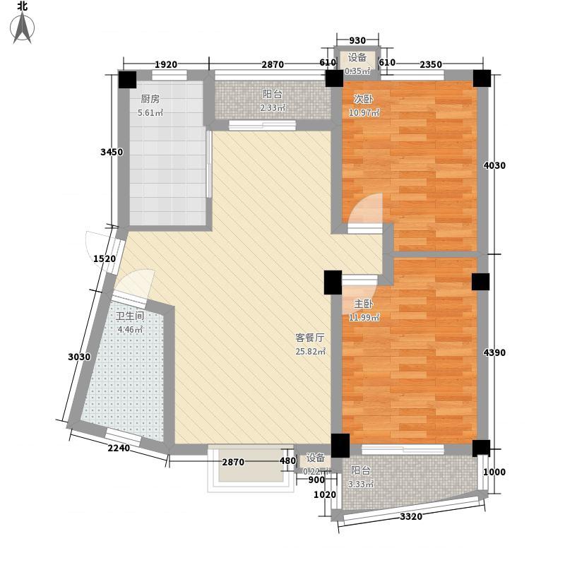 天赐良园5.00㎡塔楼户型2室2厅1卫1厨