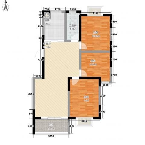 春江花园三期3室1厅1卫1厨121.00㎡户型图