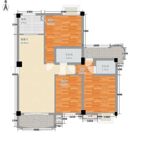 天赐良园3室1厅2卫1厨90.14㎡户型图