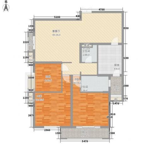 宫园壹号3室1厅2卫1厨146.00㎡户型图