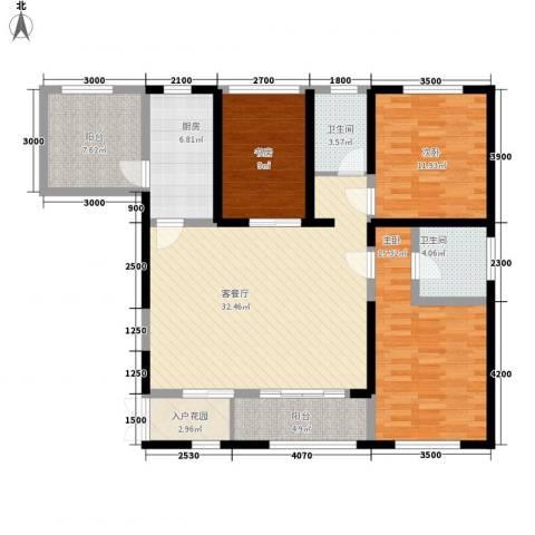 香榭兰廷3室1厅2卫1厨109.00㎡户型图