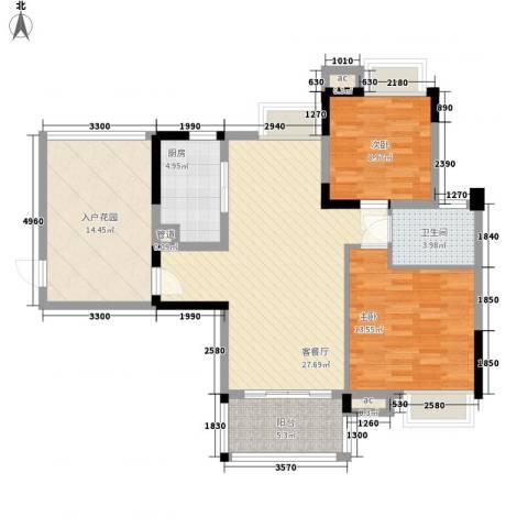 广电江湾新城2室1厅1卫1厨96.00㎡户型图
