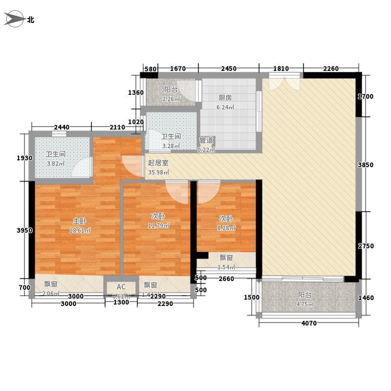 九洲海誉居124.00㎡A1栋03单位户型3室2厅2卫1厨