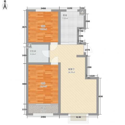 丽景盛园2室1厅1卫1厨94.00㎡户型图