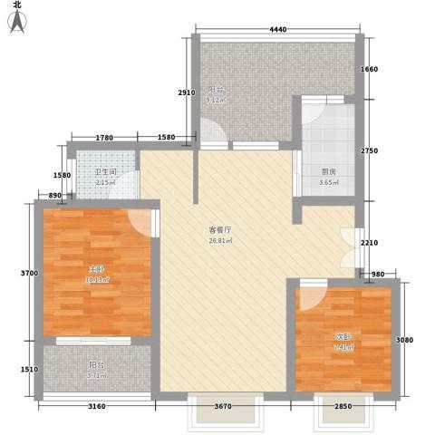 御林华府2室1厅1卫1厨92.00㎡户型图