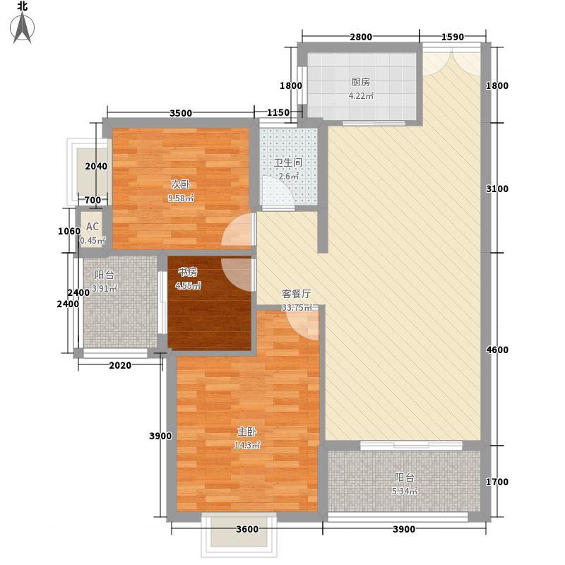 东方新城18.71㎡1#2#楼南北朝向A4户型3室2厅1卫1厨