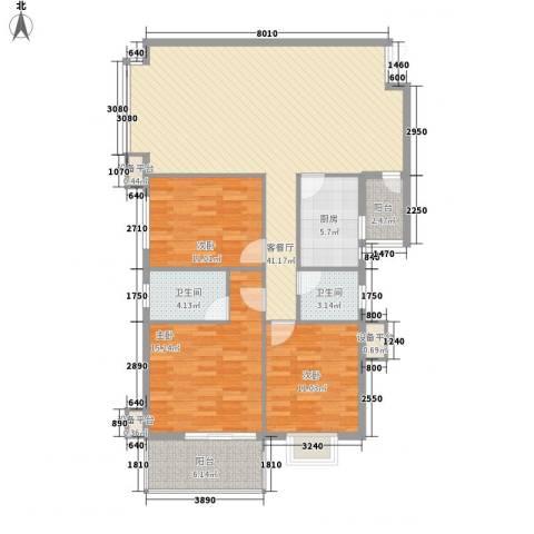 御林华府3室1厅2卫1厨141.00㎡户型图