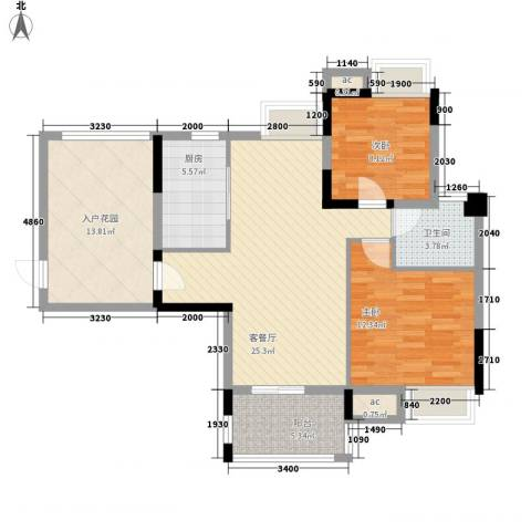 广电江湾新城2室1厅1卫1厨112.00㎡户型图