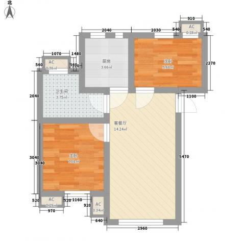 祈福新村绿怡居2室1厅1卫1厨53.00㎡户型图