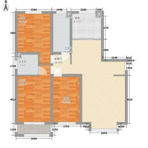 丽景盛园3室1厅2卫1厨131.00㎡户型图