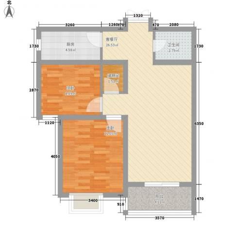 水半湾2室1厅1卫1厨90.00㎡户型图