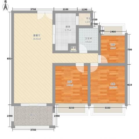 莱蒙水榭春天3室1厅1卫1厨108.00㎡户型图
