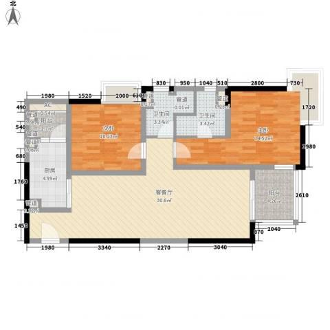 远雄徐汇园2室1厅2卫1厨108.00㎡户型图