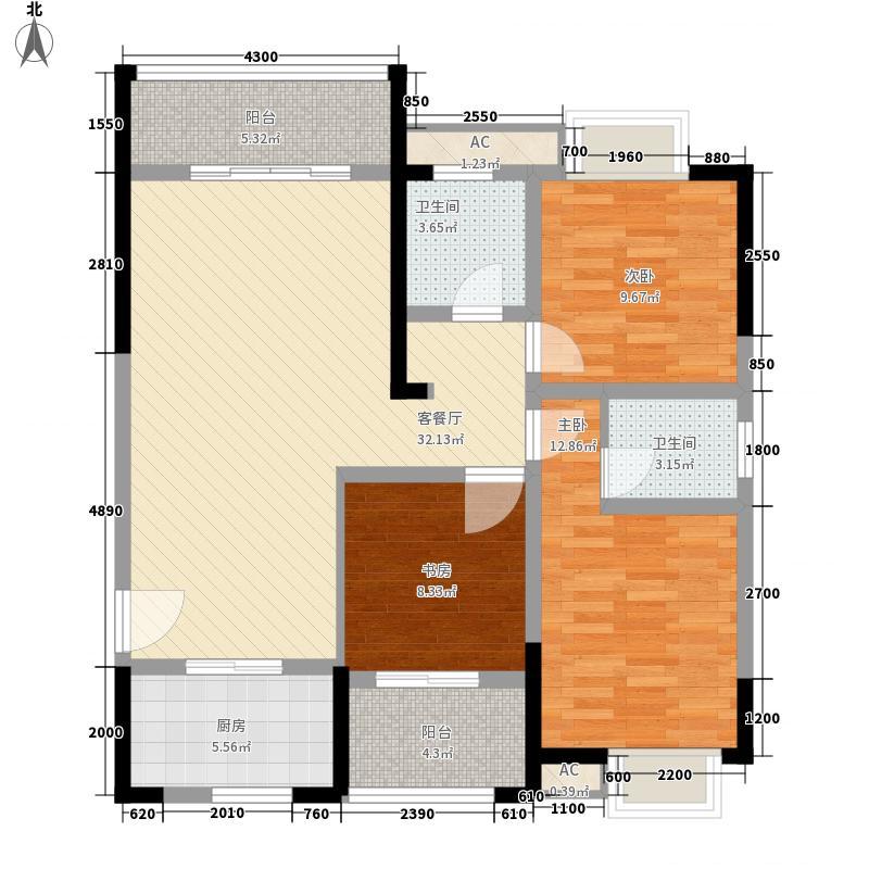 东方新城11.20㎡9#、11#F1南北朝向户型3室2厅2卫1厨