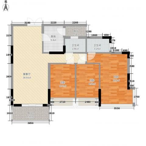 金地格林小城二期3室1厅2卫1厨122.00㎡户型图