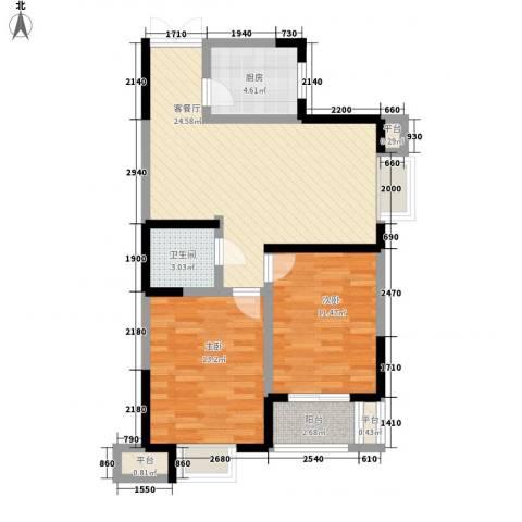 天朗西子湖2室1厅1卫1厨89.00㎡户型图