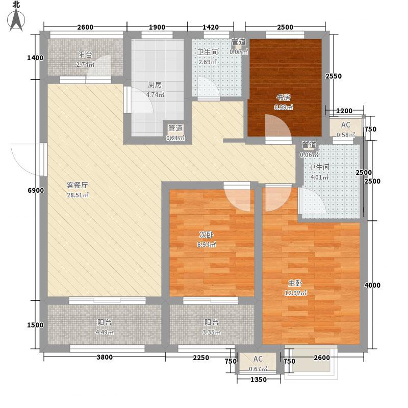 祥泰新河湾123.00㎡一期1-8#楼标准层C户型3室2厅2卫1厨