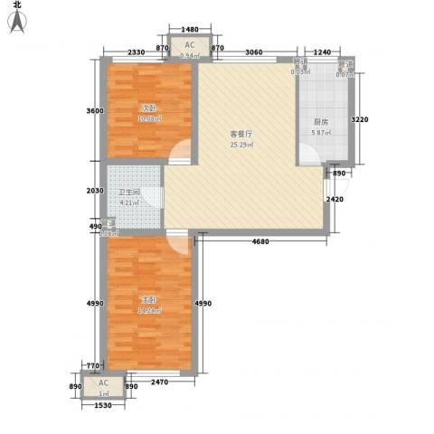 锦绣园自住型商品房2室1厅1卫1厨84.00㎡户型图