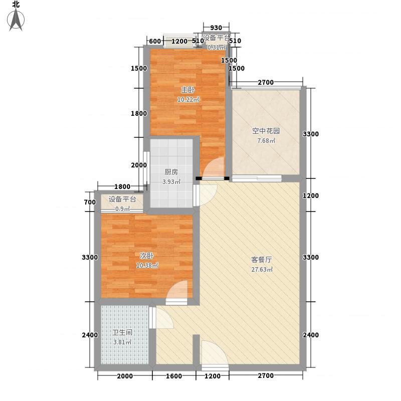 林湾家园76.60㎡户型2室2厅1卫1厨