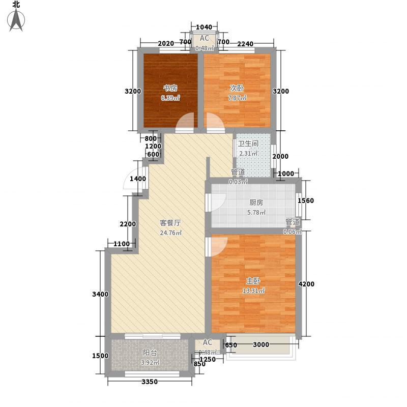 祥泰新河湾二期9#、10#楼标准层D户型3室2厅1卫1厨
