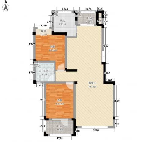 保利香槟2室1厅1卫1厨110.00㎡户型图