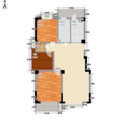 湖西庭园3室0厅1卫1厨114.00㎡户型图