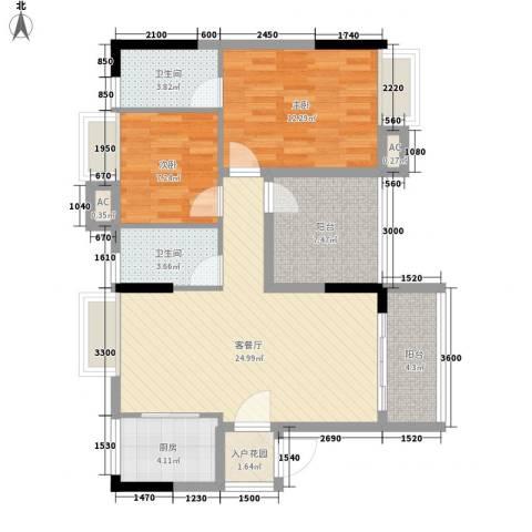 诚丰新园2室1厅2卫1厨81.50㎡户型图