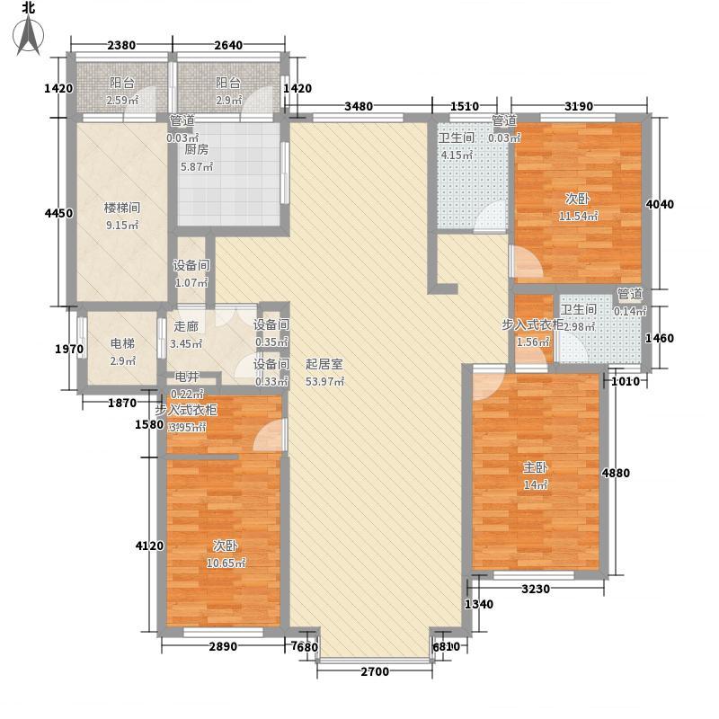 世茂滨江新城187.00㎡68#L户型3室2厅2卫1厨