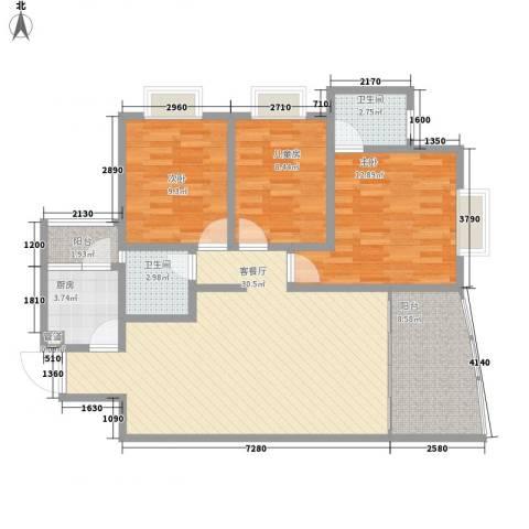 协信天骄俊园3室1厅2卫1厨115.00㎡户型图