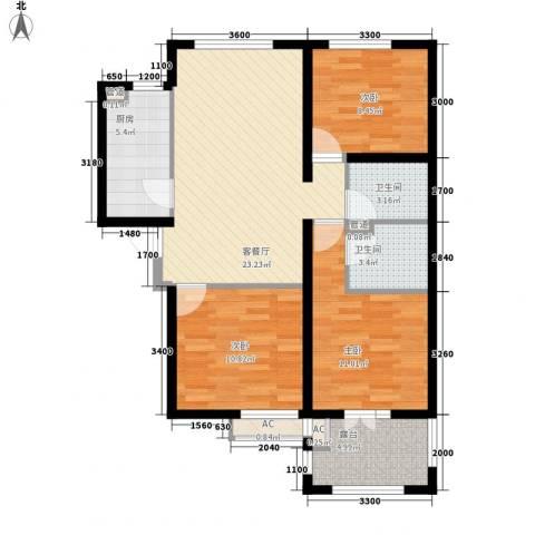 华夏第九园・兰亭3室1厅2卫1厨104.00㎡户型图