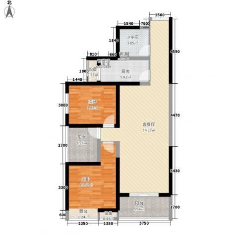 曲江中铁建国际城2室1厅1卫1厨102.00㎡户型图