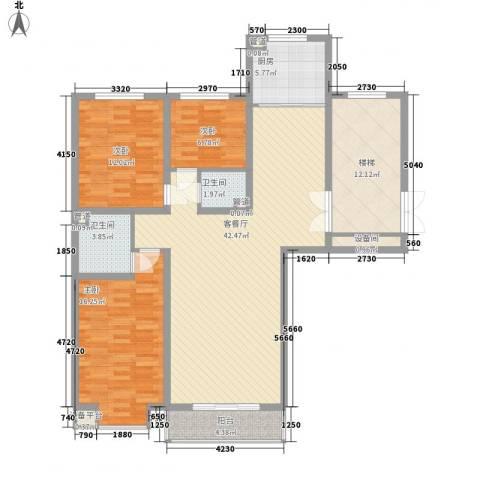 碧龙江畔3室1厅2卫1厨124.00㎡户型图