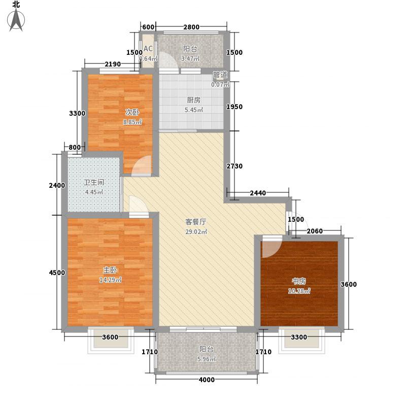 金汇康郡113.30㎡一期1号楼G1户型3室2厅1卫1厨