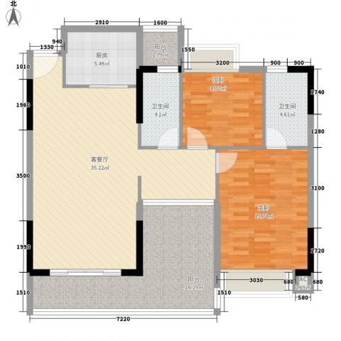诚丰新园2室1厅2卫1厨104.08㎡户型图