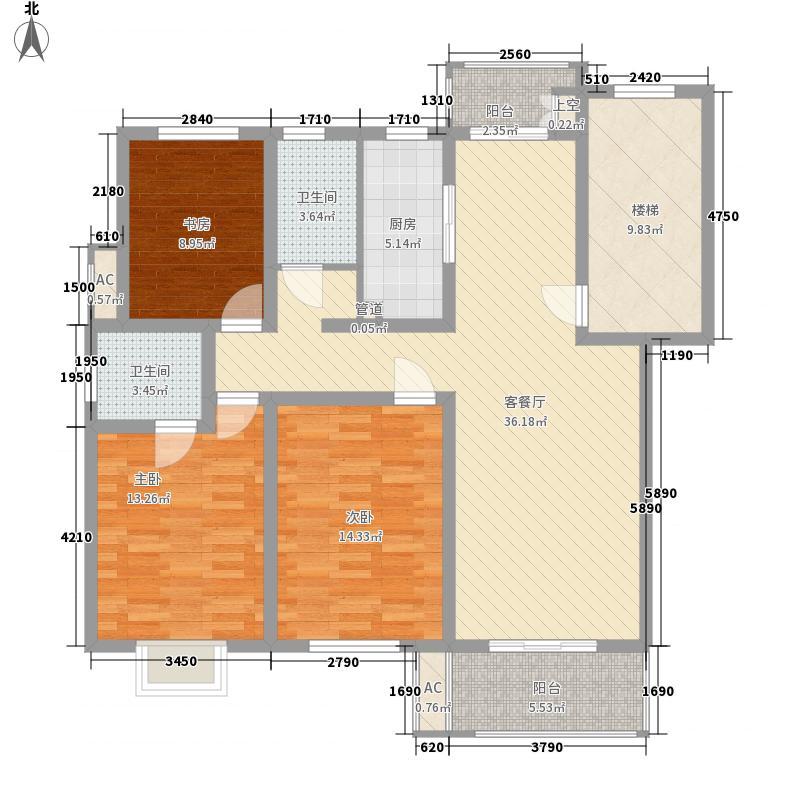 金汇康郡126.60㎡一期1号楼D4户型3室2厅2卫2厨