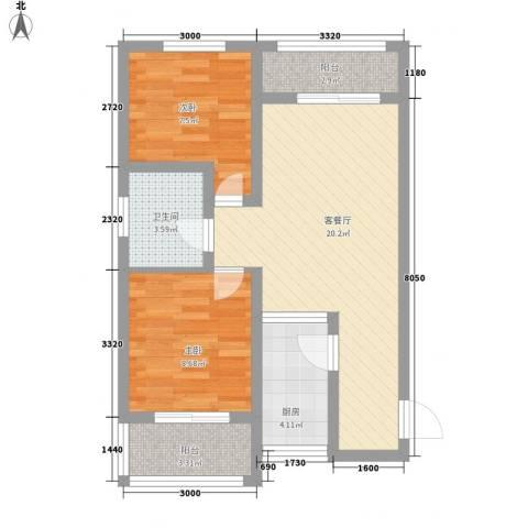 西江月2室1厅1卫1厨72.00㎡户型图