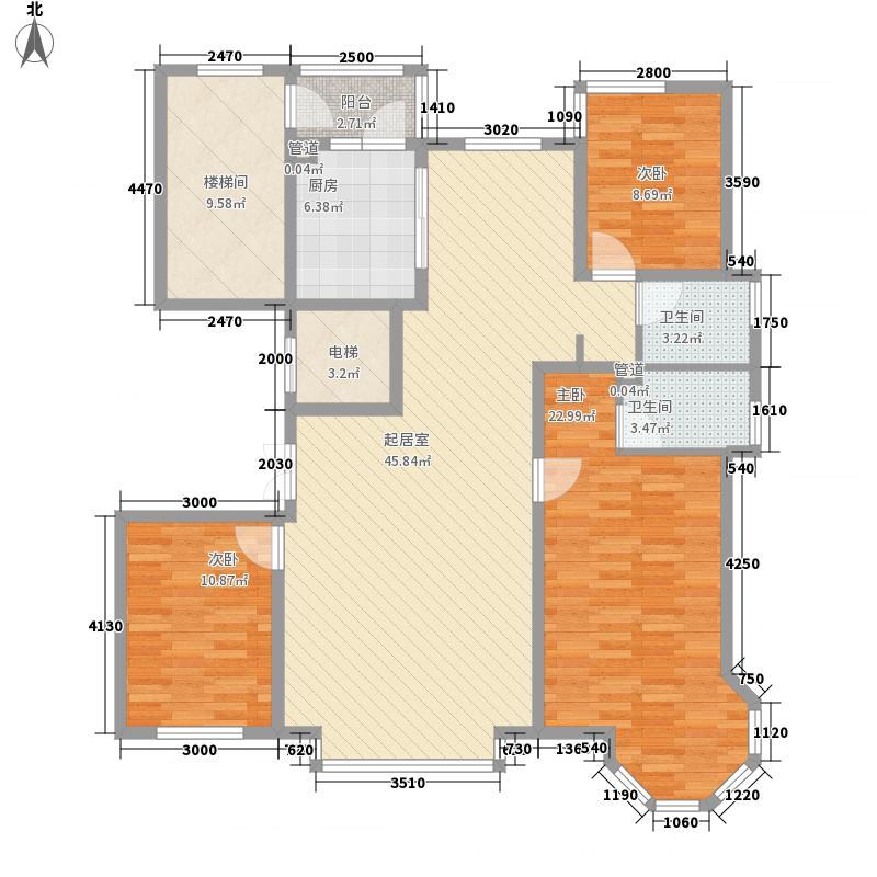 世茂滨江新城165.00㎡74#R户型3室2厅2卫1厨