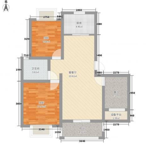 尚成府邸2室1厅1卫1厨90.00㎡户型图