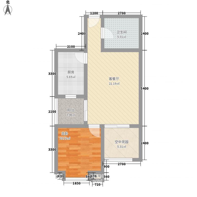 林湾家园65.60㎡户型1室2厅1卫1厨
