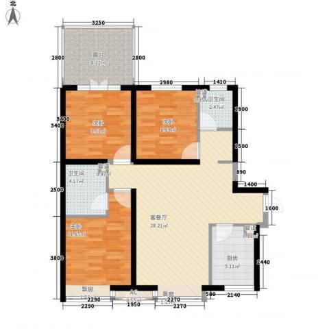华夏第九园・兰亭3室1厅2卫1厨135.00㎡户型图