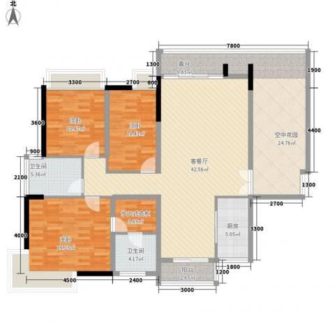 湖光山色3室1厅2卫1厨146.00㎡户型图