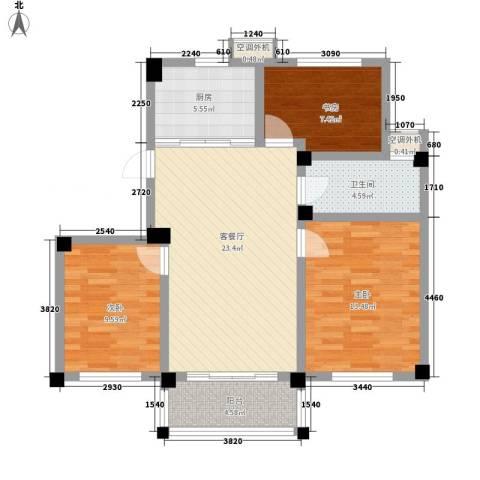 嘉怡丽景花园3室1厅1卫1厨103.00㎡户型图