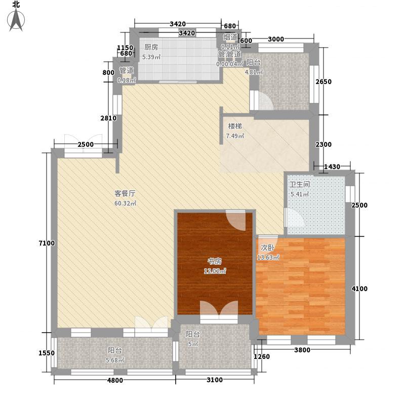 世界穆斯林城13.78㎡阔景叠院B二层户型2室2厅1卫1厨