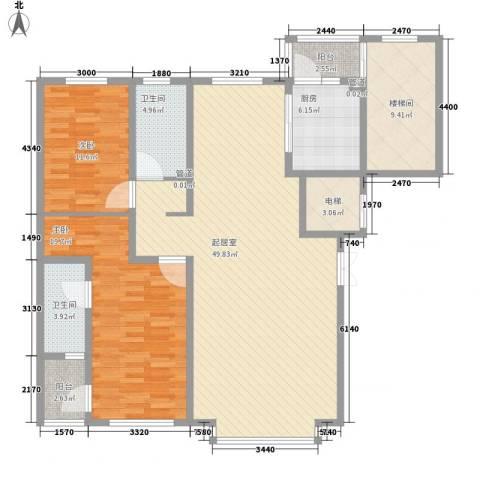 世茂滨江新城2室0厅2卫1厨161.00㎡户型图